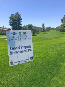 conrad property management inc. golf hole sponsor universal studios hollywood golf course